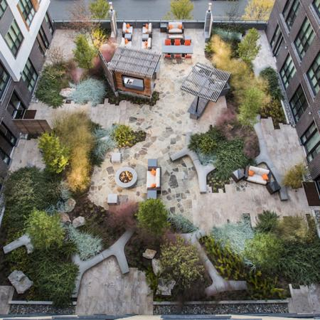 Aerial View of our Outdoor Social Lounges and Firepit | Modera Mosaic