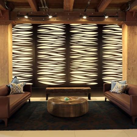 Uniquely Designed Resident Lounge with Light Up Wall Feature