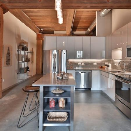 European Cabinetry, Islands and Stainless Steel Appliances in Our Loft Kitchens | Loft Studios | Apartment Homes in Jersey City, NJ | Modera Lofts