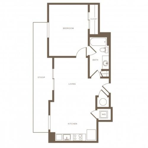 662 square foot one bedroom one bath phase II apartment floorplan image