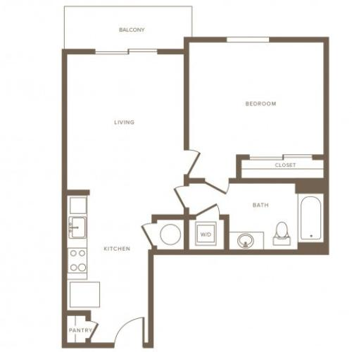 678 square foot one bedroom one bath phase II apartment floorplan image
