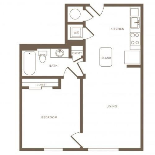 699 square foot one bedroom one bath phase II apartment floorplan image