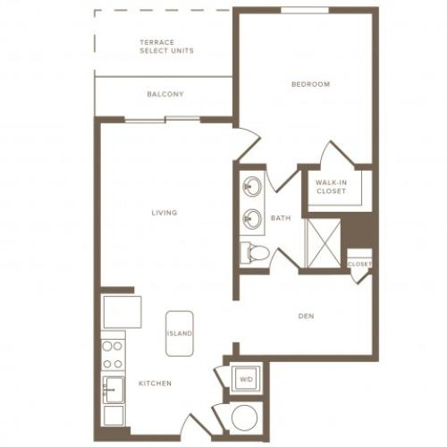 773 square foot one bedroom one bath with den phase II apartment floorplan image