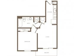 621 square foot one bedroom one bath phase II apartment floorplan image