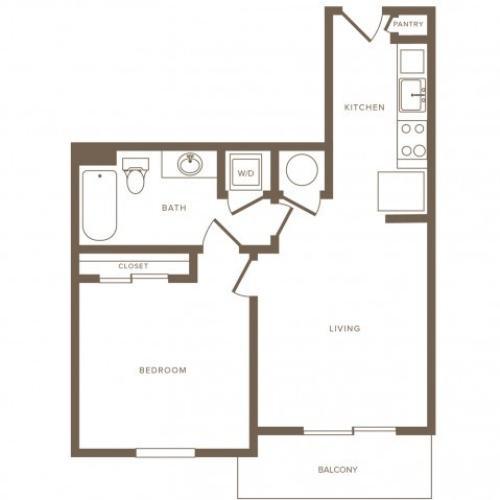 621 square foot one bedroom one bath phase II apartment floorplan image
