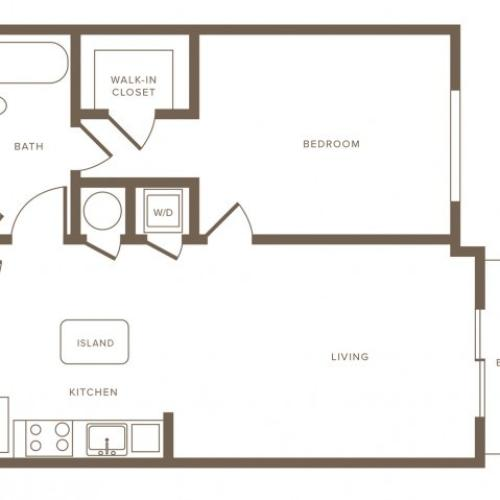 754 square foot one bedroom one bath phase II apartment floorplan image