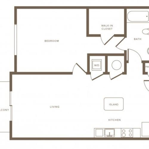 718 square foot one bedroom one bath phase II apartment floorplan image
