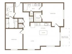 1174 square foot two bedroom two bath phase II apartment floorplan image