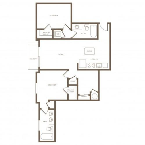 1199 square foot two bedroom two bath phase II apartment floorplan image