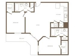 1128 square foot two bedroom two bath phase II apartment floorplan image