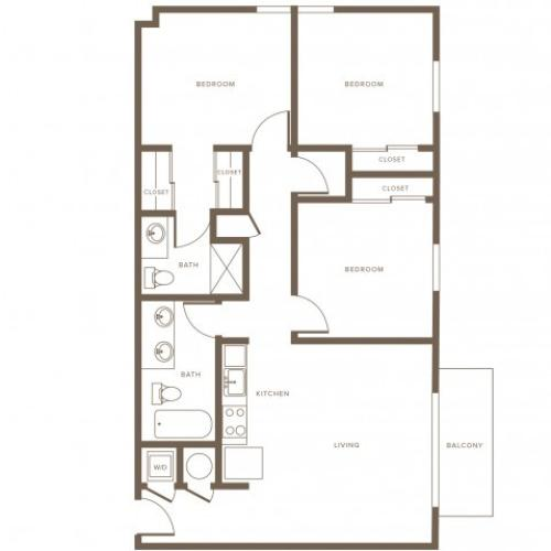 1176 square foot three bedroom two bath phase II apartment floorplan image