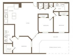square foot three bedroom two bath phase II apartment floorplan image