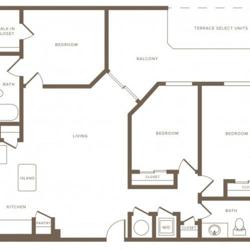 1250 square foot three bedroom two bath phase II apartment floorplan image