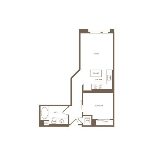 619-662 square foot one bedroom one bath floor plan image