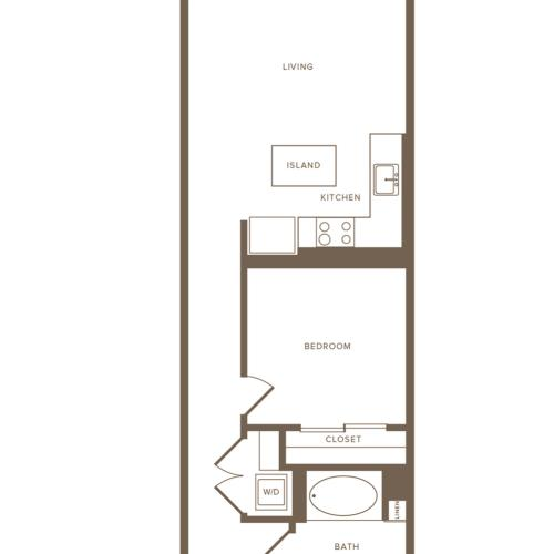 613-701 square foot one bedroom one bath floor plan image