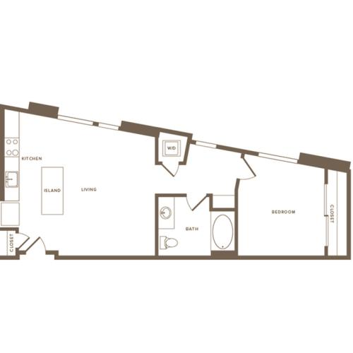709 square foot one bedroom one bath floor plan image