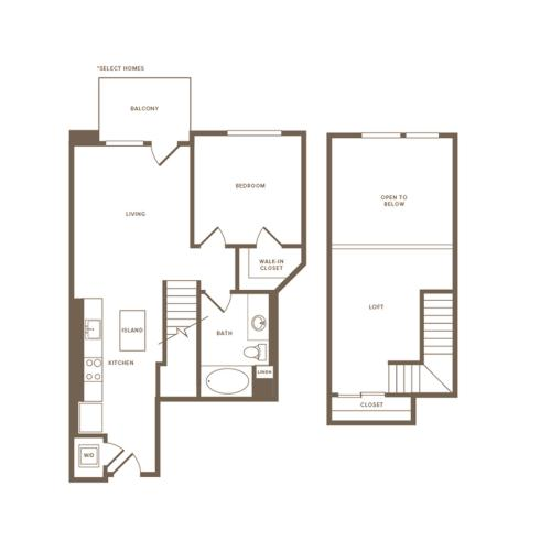 810-820 square foot one bedroom one bath floor plan image