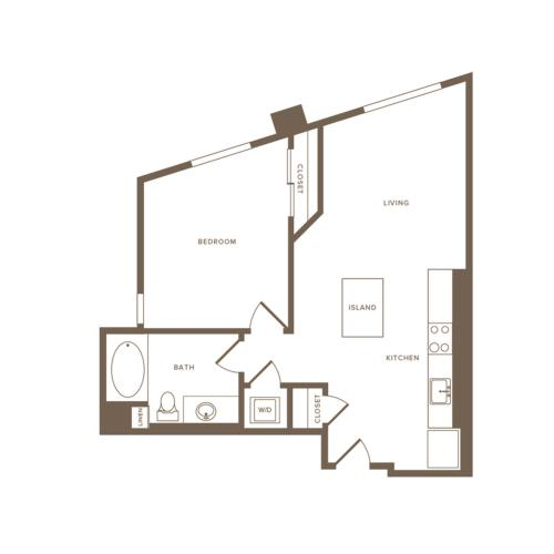 692 square foot one bedroom one bath floor plan image