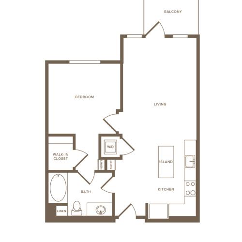 640-659 square foot one bedroom one bath floor plan image