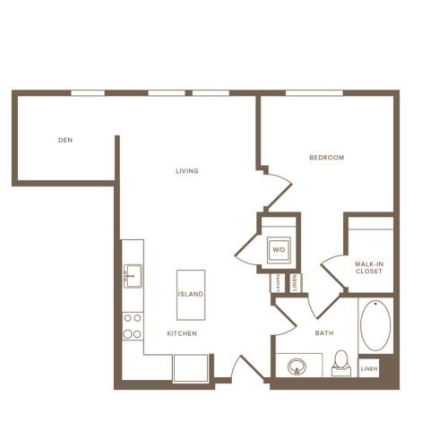 737 square foot one bedroom one bath floor plan image