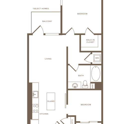 816-955 square foot two bedroom one bath floor plan image
