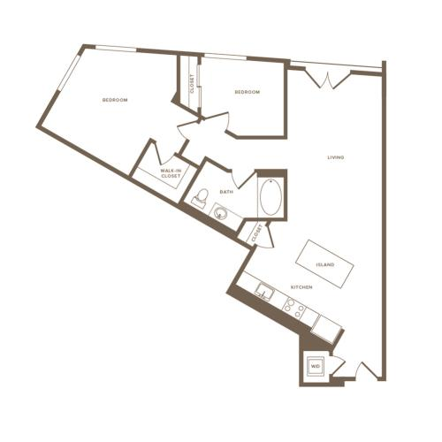 1012 square foot two bedroom one bath floor plan image