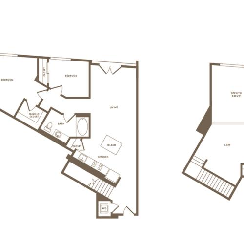 1177 square foot two bedroom one bath floor plan image