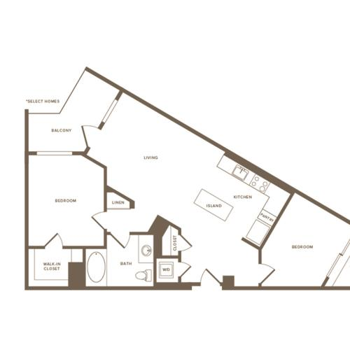 954-961 square foot two bedroom one bath floor plan image