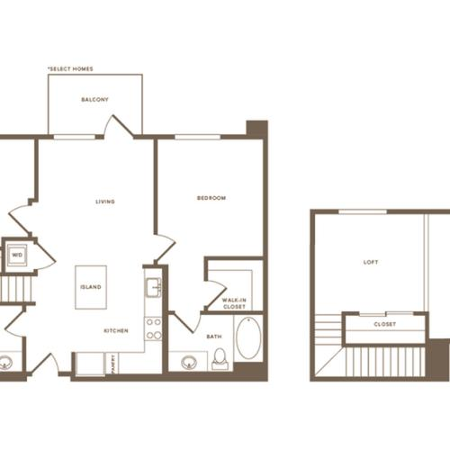 1059-1103 square foot two bedroom two bath floor plan image