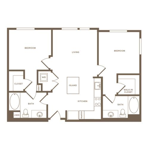 931 square foot two bedroom two bath floor plan image