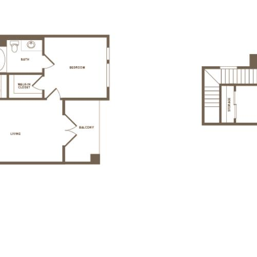 1291 square foot two bedroom two bath floor plan image
