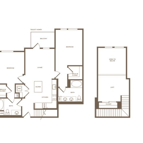 1204 square foot two bedroom two bath floor plan image