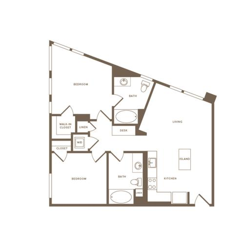 954 square foot two bedroom two bath floor plan image