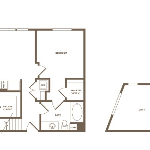 1216 square foot two bedroom two bath floor plan image