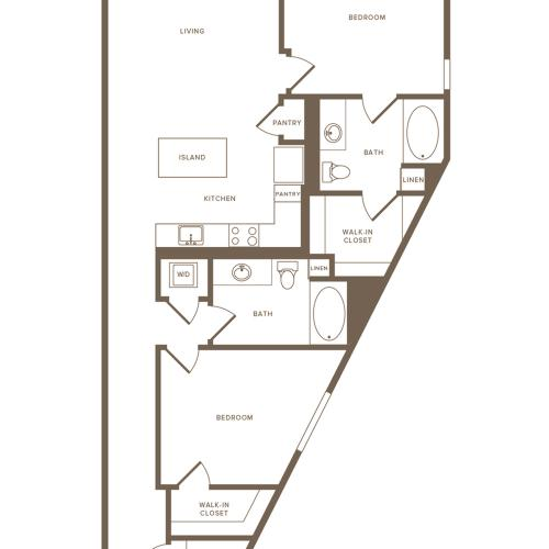 1243 square foot two bedroom two bath floor plan image