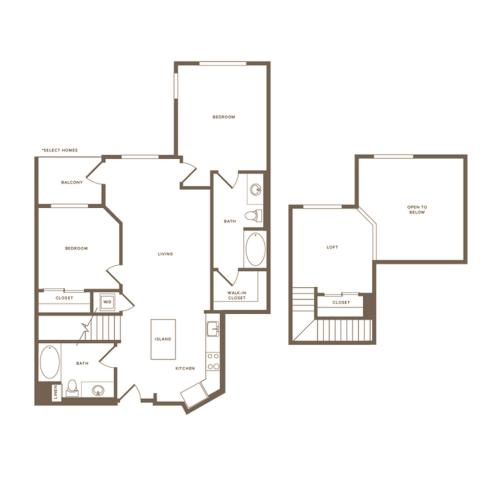 1223 square foot two bedroom two bath floor plan image