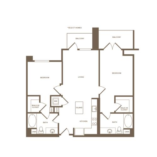 1058-1068 square foot two bedroom two bath floor plan image