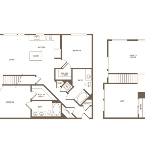 1367 square foot two bedroom two bath floor plan image