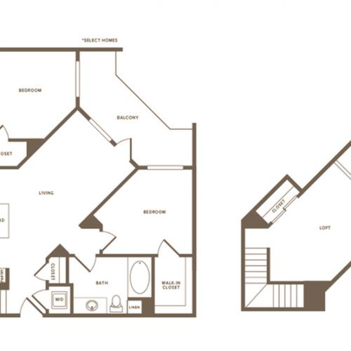 1232 square foot two bedroom two bath floor plan image