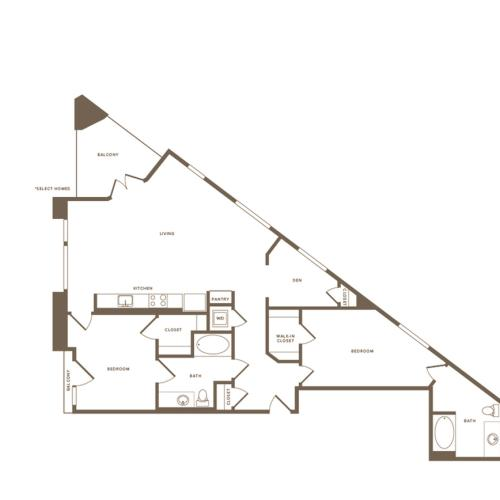 1301 square foot two bedroom two bath floor plan image