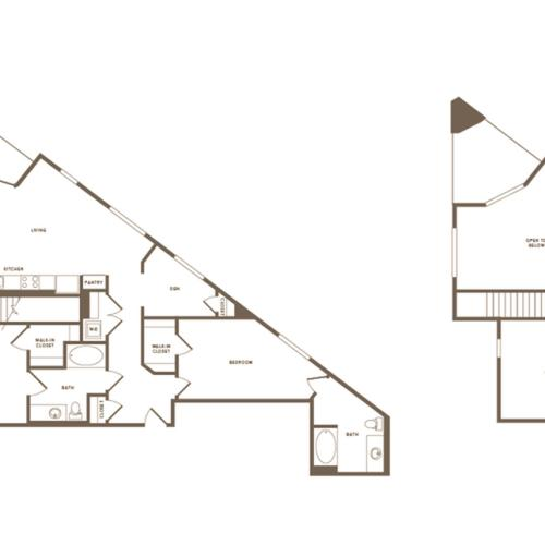1468 square foot two bedroom two bath floor plan image