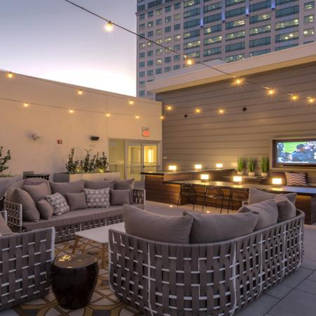 Outdoor Lounge with Seating and Flat Screen Television | Modera Glendale