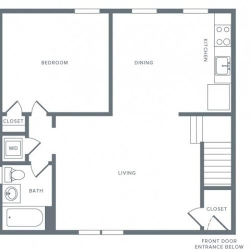 665 square foot one bedroom one bath apartment floorplan image