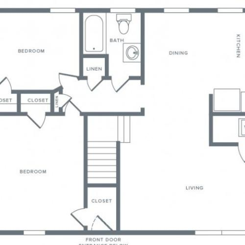 800 square foot two bedroom one bath apartment floorplan image