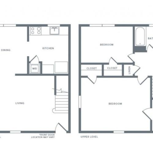 985 square foot two bedroom one bath town home apartment floorplan image