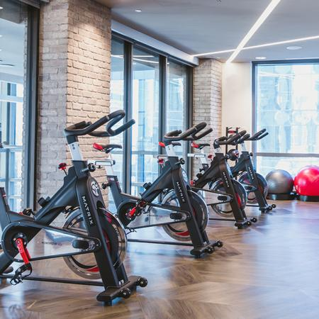 Spin Bike Room with Floor to Ceiling Windows