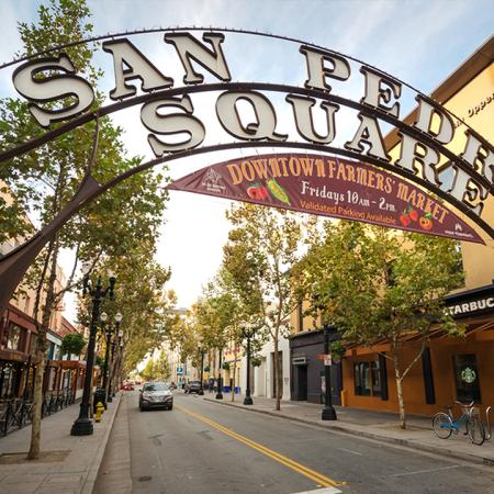 Exterior signage for San Pedro Square