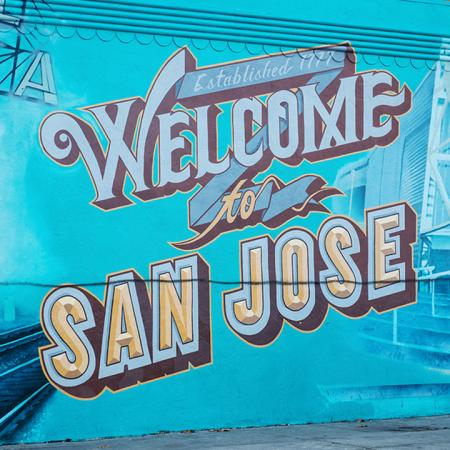 Exterior wall art stating Welcome to San Jose