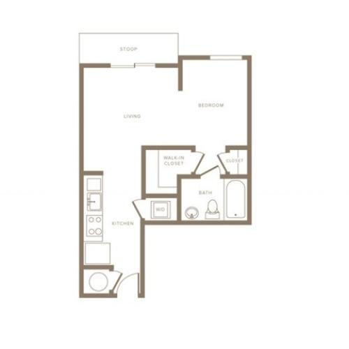 556 square foot studio one bath phase II floor apartment plan image
