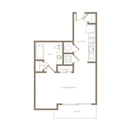 502 square foot studio one bath phase II floor apartment plan image